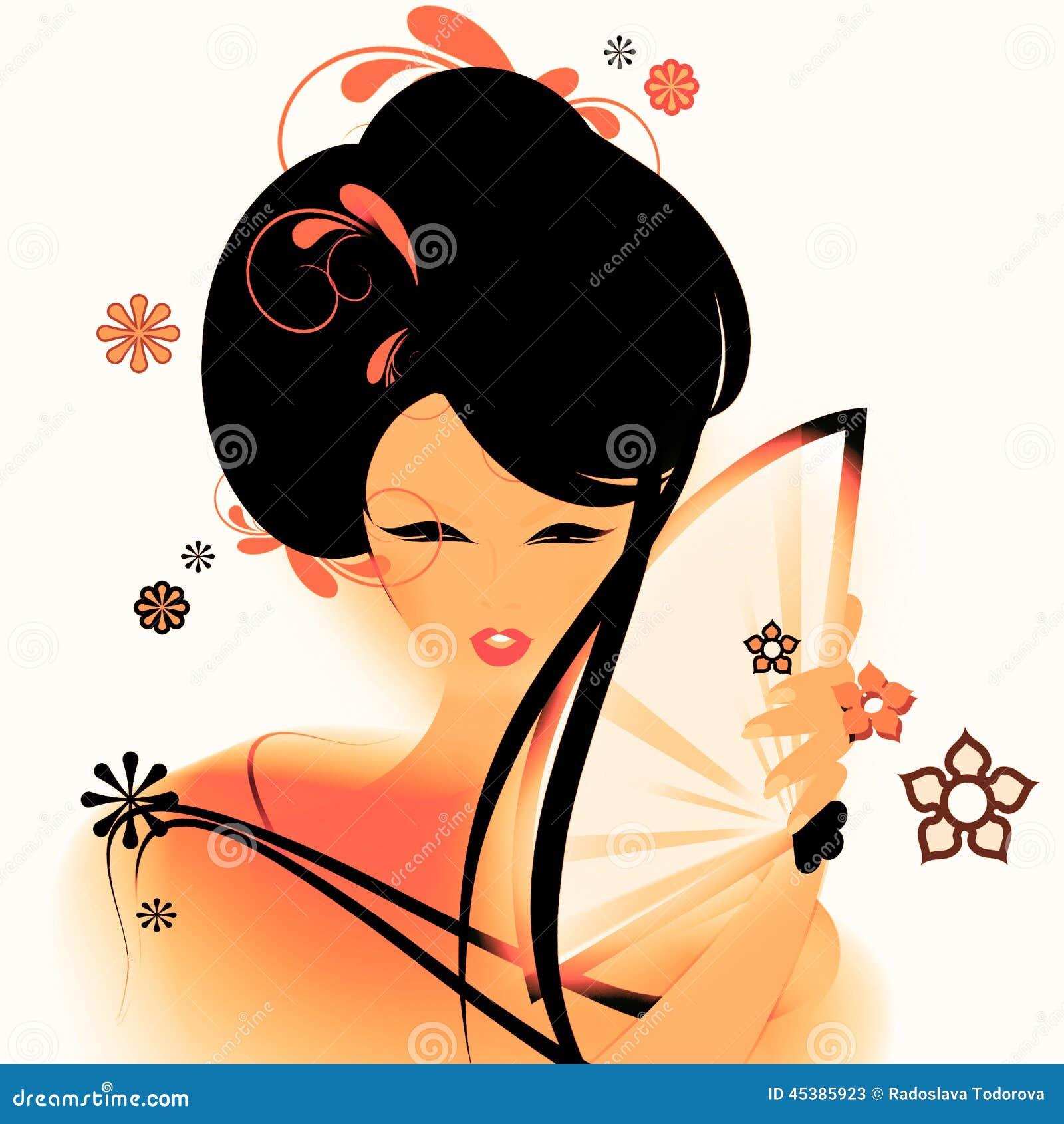 Aziatisch Meisjesbehang