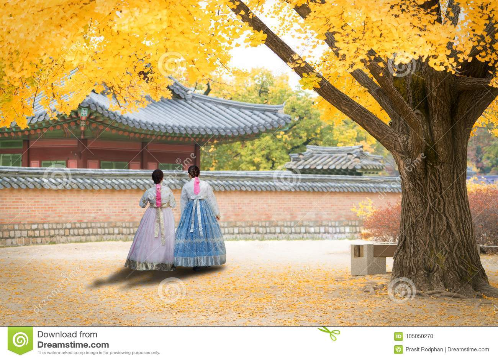 Aziatische Koreaanse vrouw geklede Hanbok in traditionele kleding die I lopen