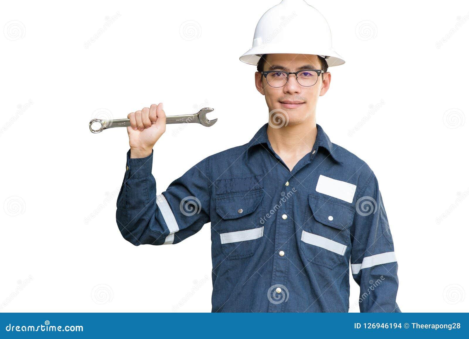 Aziatische mens, Ingenieur of Technicus in witte helm, glazen en bl