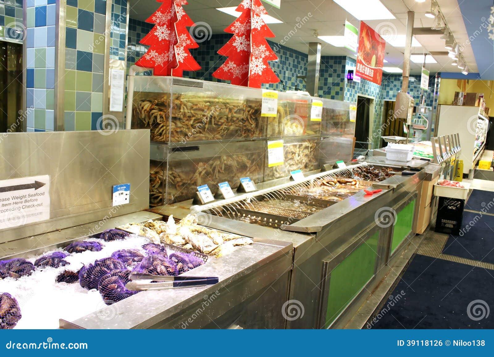Aziatische supermarktzeevruchten