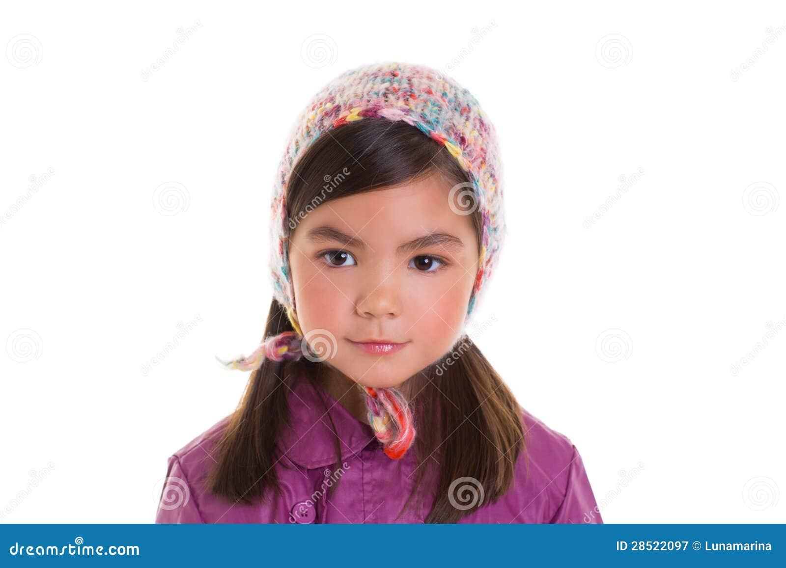 Aziatische van de het meisjeswinter van het kindjonge geitje het portret purpere laag en wol GLB
