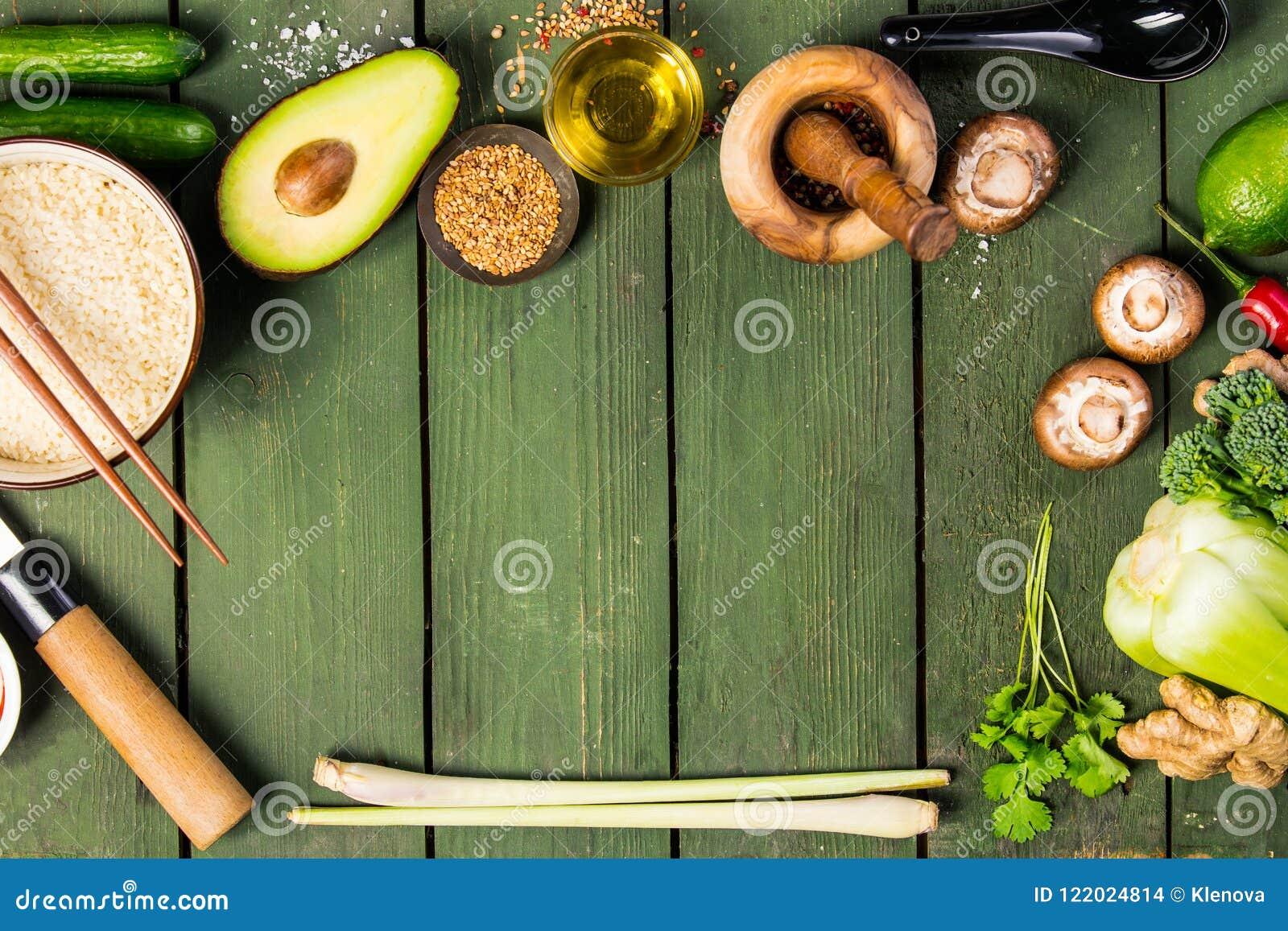 Aziatische voedselachtergrond