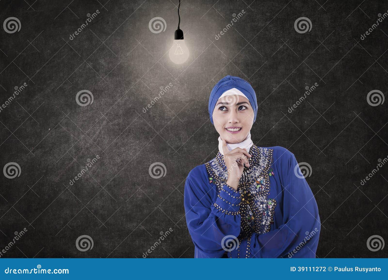 Aziatische vrouwelijke moslim onder gloeilamp in klasse