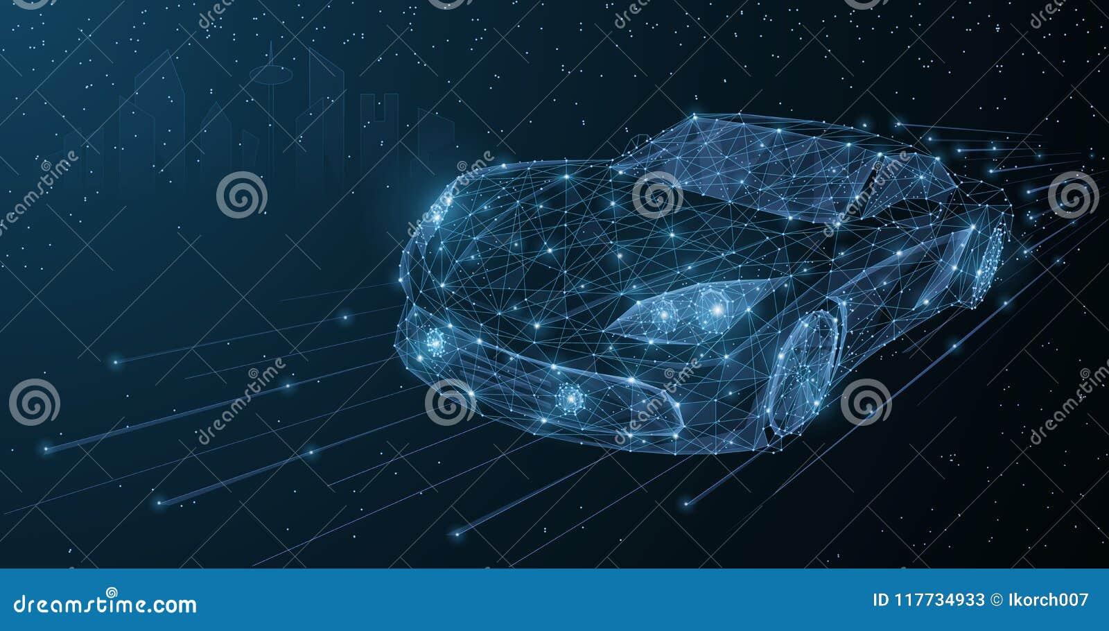 Azionamento ad alta velocità della città di notte dell automobile di moto di vettore Illustrazione bassa dell automobile del poy