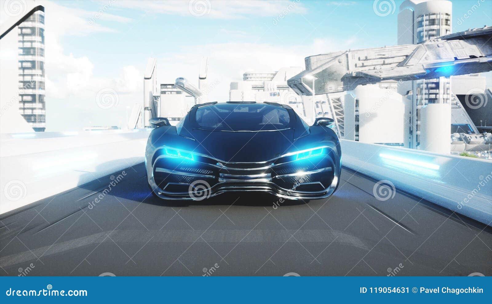 Azionamento molto veloce elettrico futuristico nero dell automobile nel sity di fi di sci, città Concetto di futuro rappresentazi