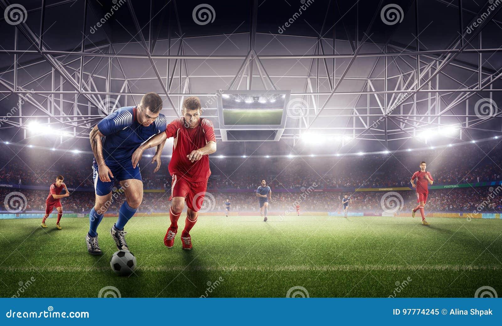 Azione di calcio sullo stadio 3d lotta matura dei giocatori per la palla