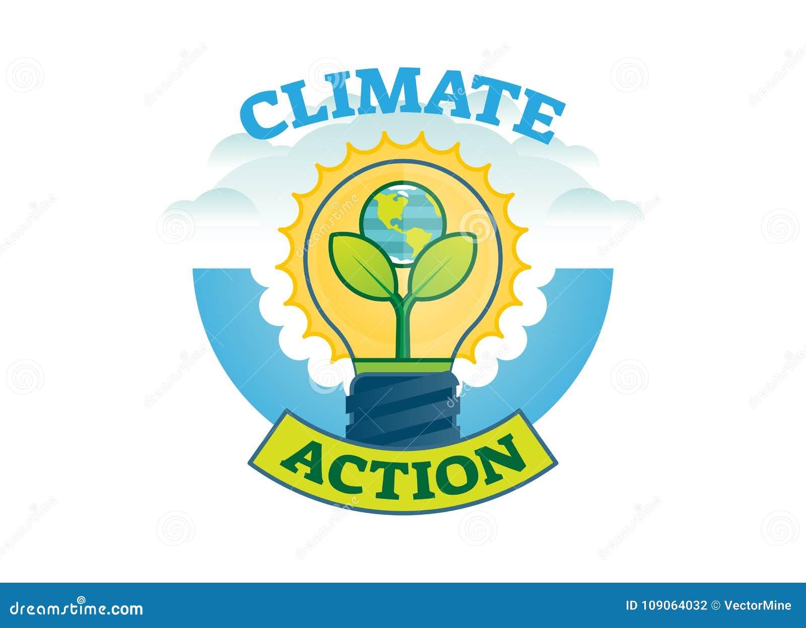 Azione di clima, distintivo di logo di vettore del movimento del mutamento climatico