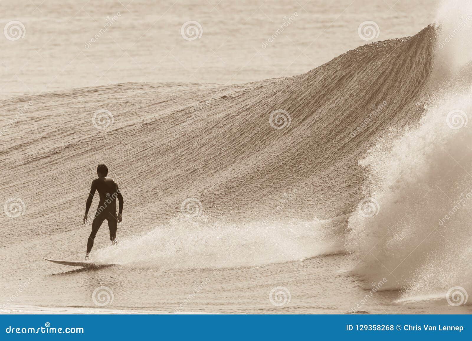 Azione praticante il surfing di Wave di seppia del surfista