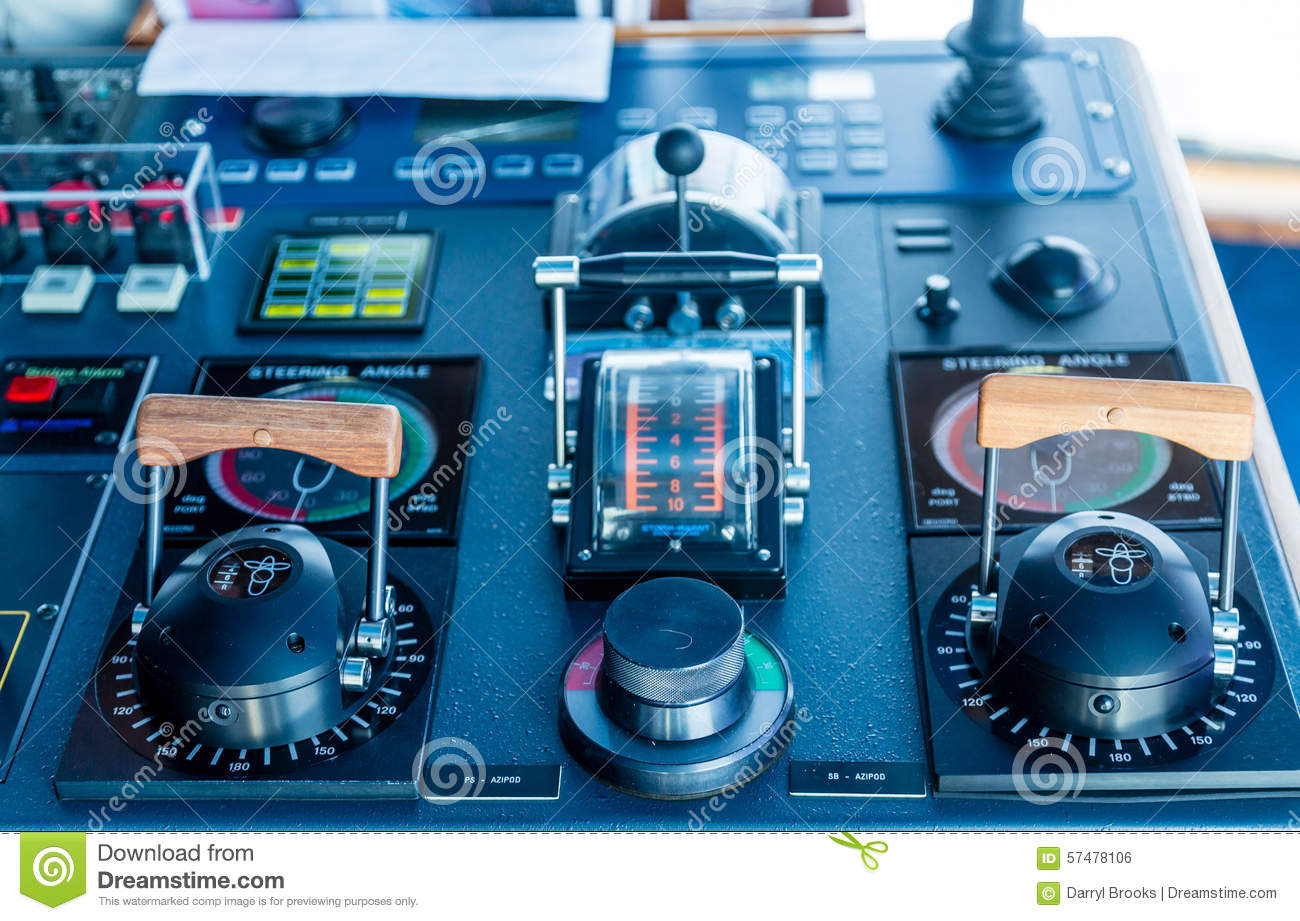 azipod controls on a cruise ship stock photo