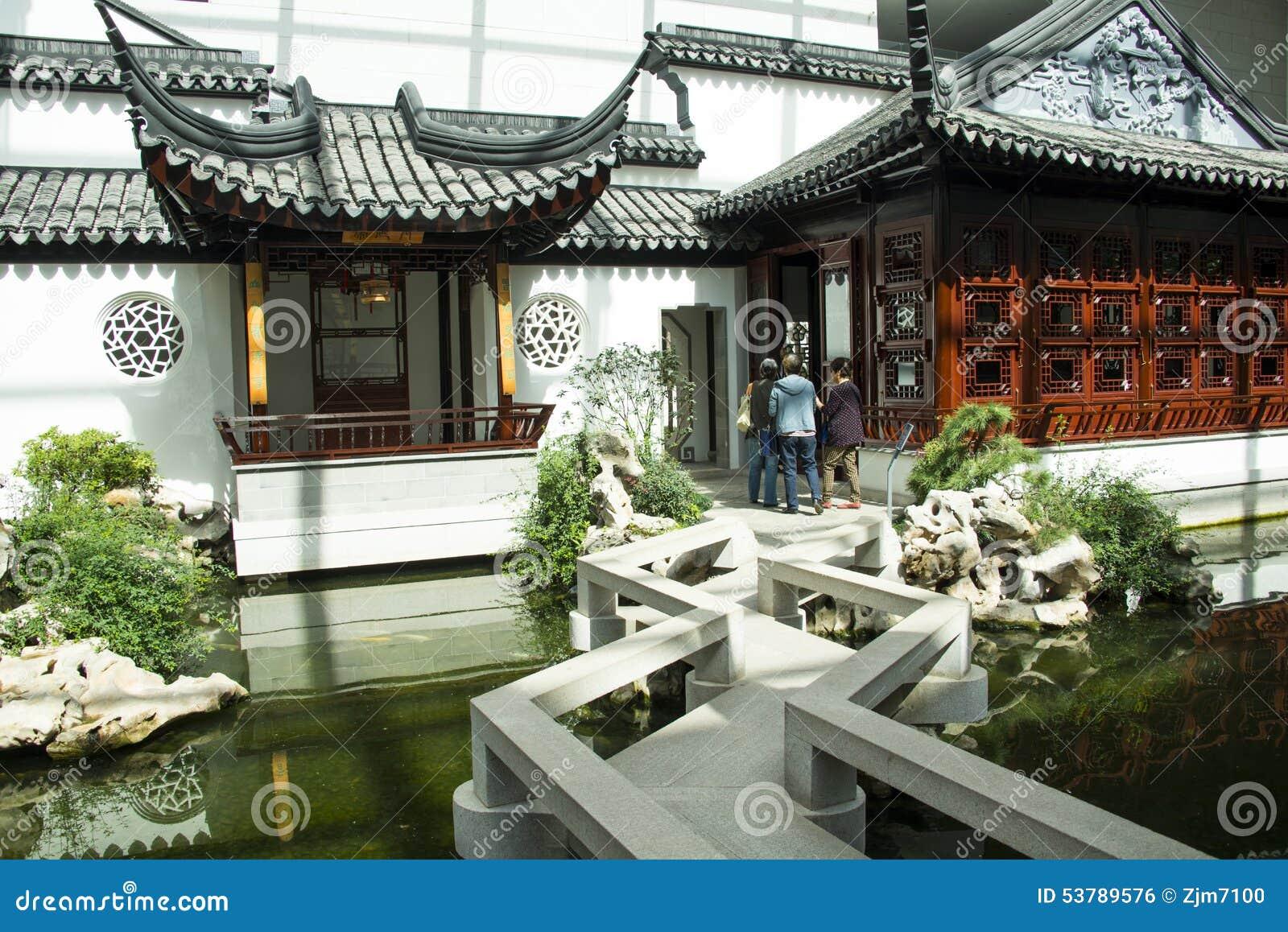Azja chińczyk, Pekin, Chiny Ogrodowy muzeum, salowy podwórze, Suzhou Jiangnan