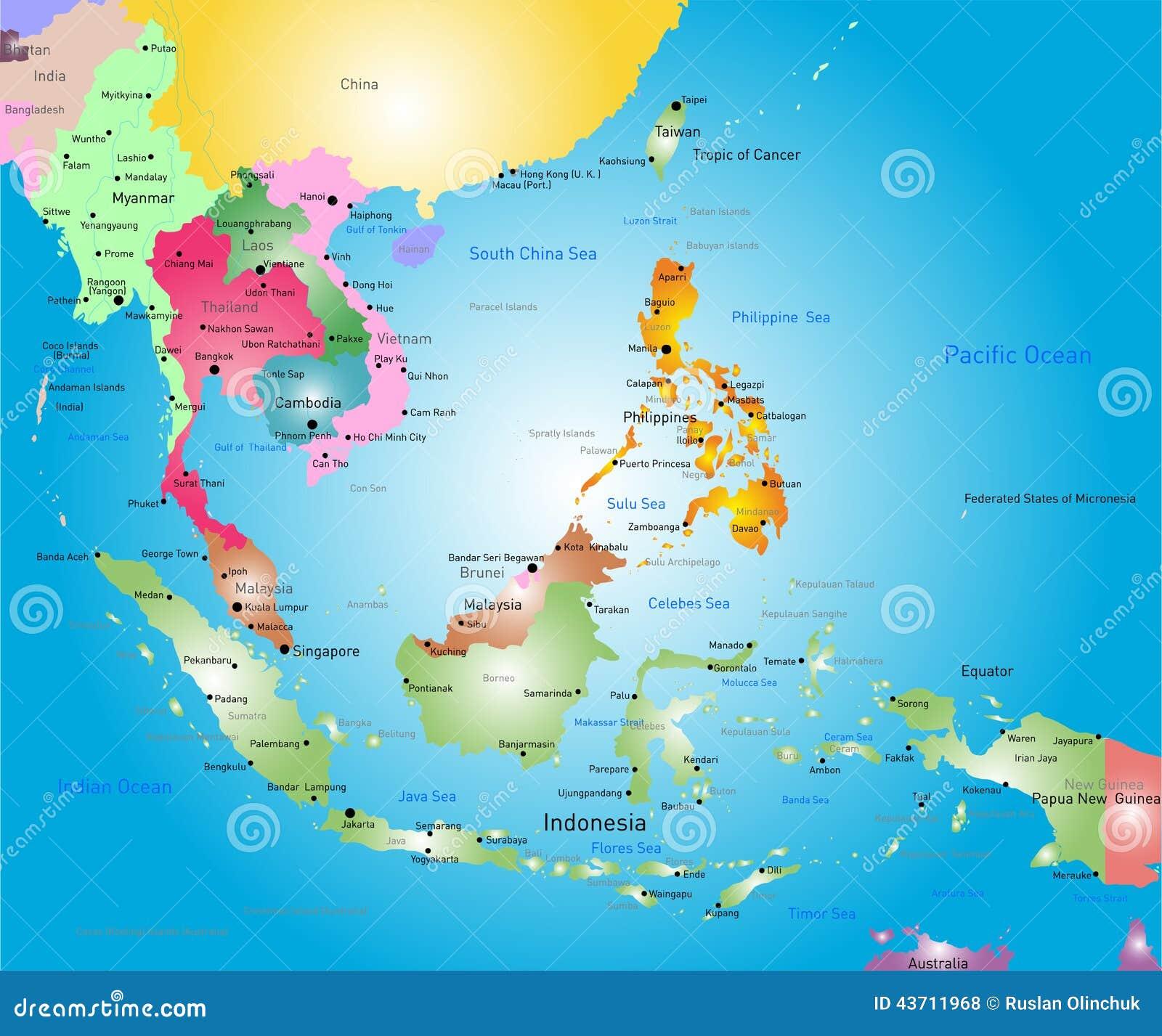 Azja Poludniowo Wschodnia Mapa Ilustracja Wektor Ilustracja