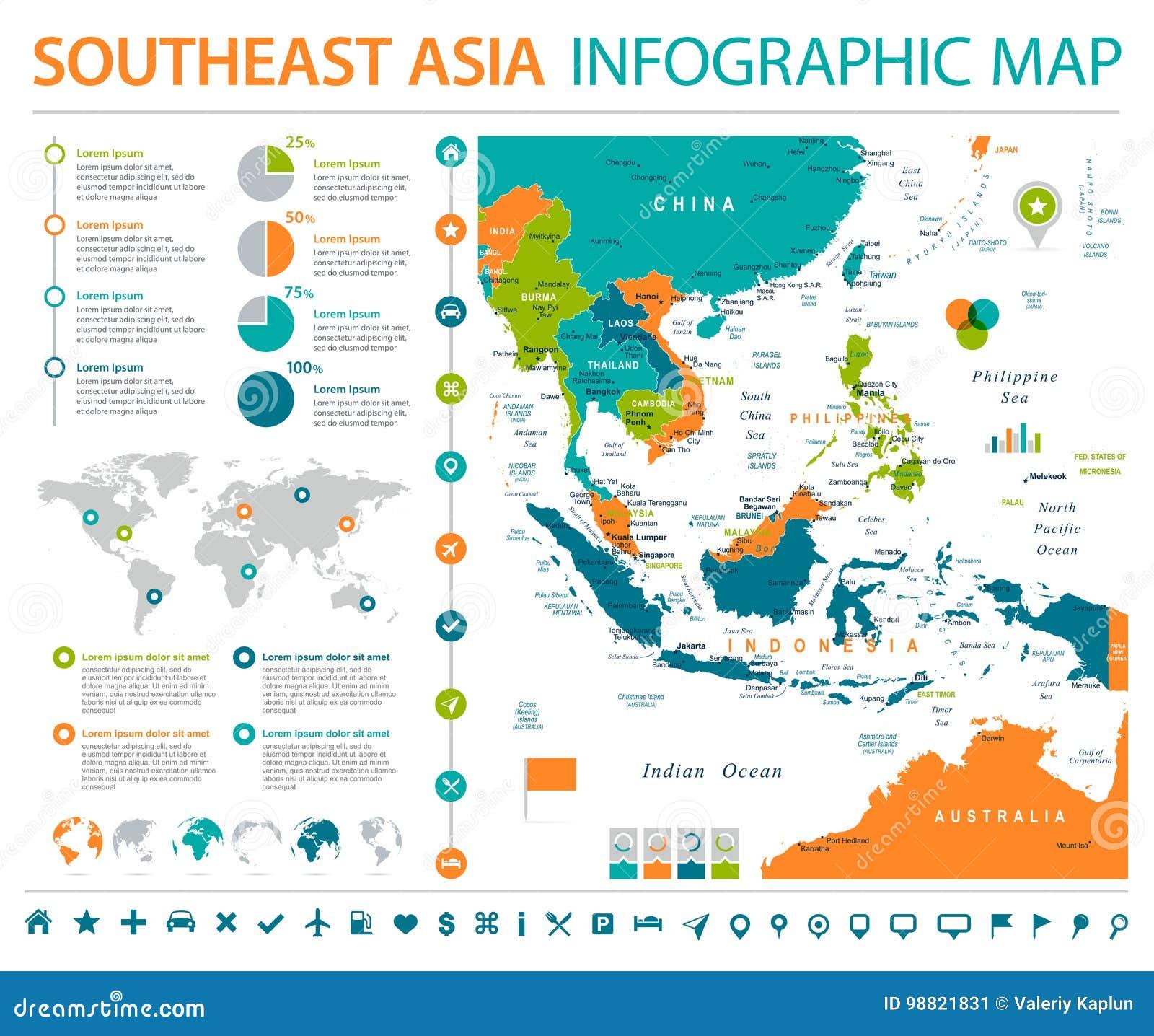Azja Południowo-Wschodnia mapa - Ewidencyjna Graficzna Wektorowa ilustracja