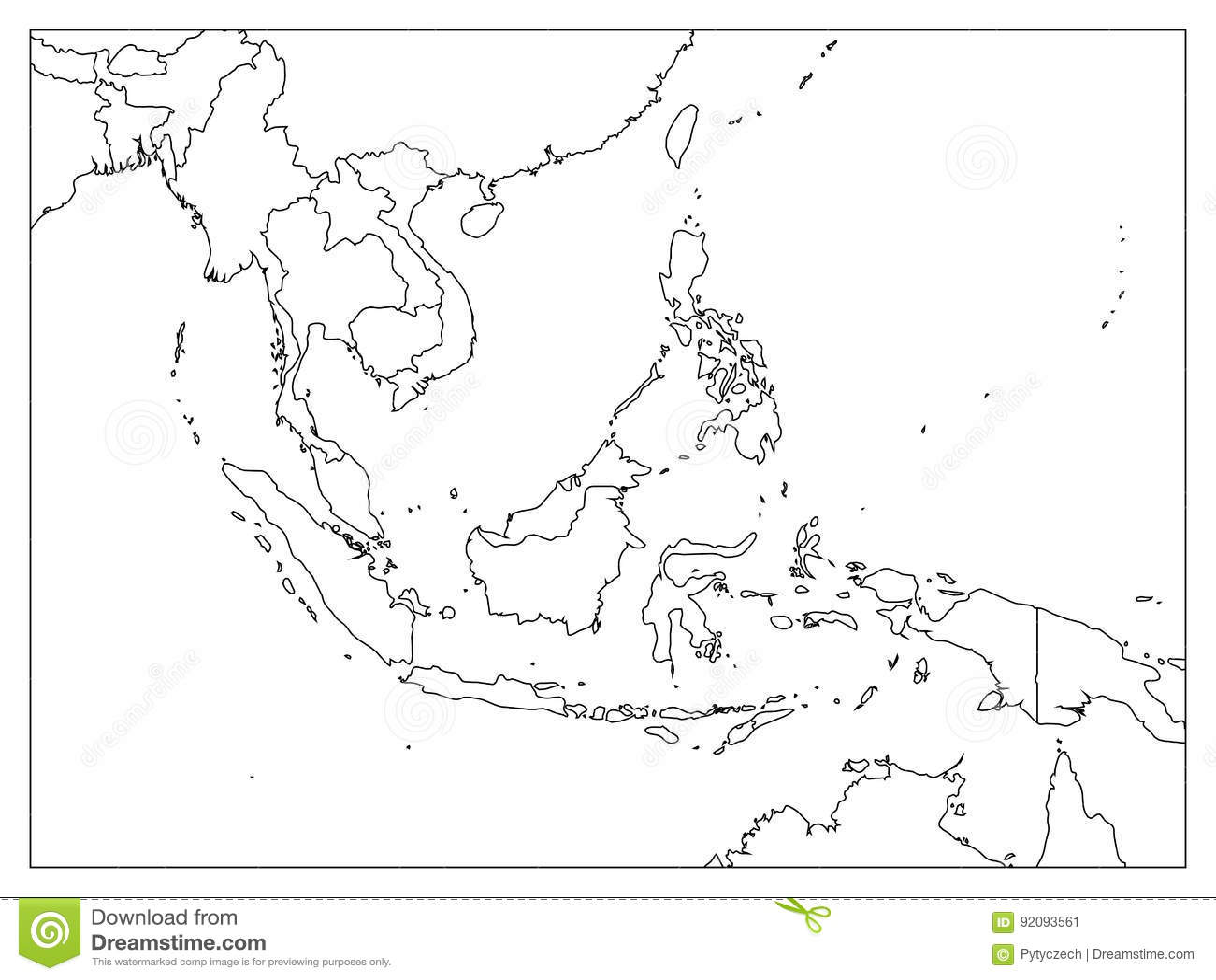Azja Poludniowo Wschodnia Polityczna Mapa Czarny Kontur Na Bialym