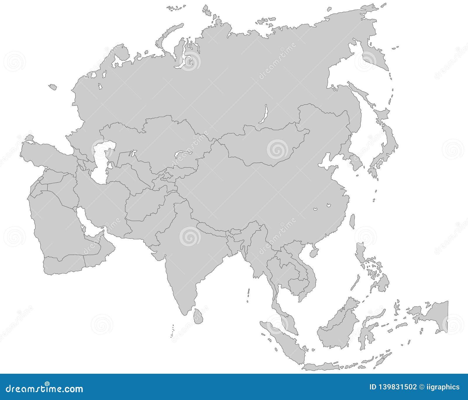 Azja - Polityczna mapa Azja