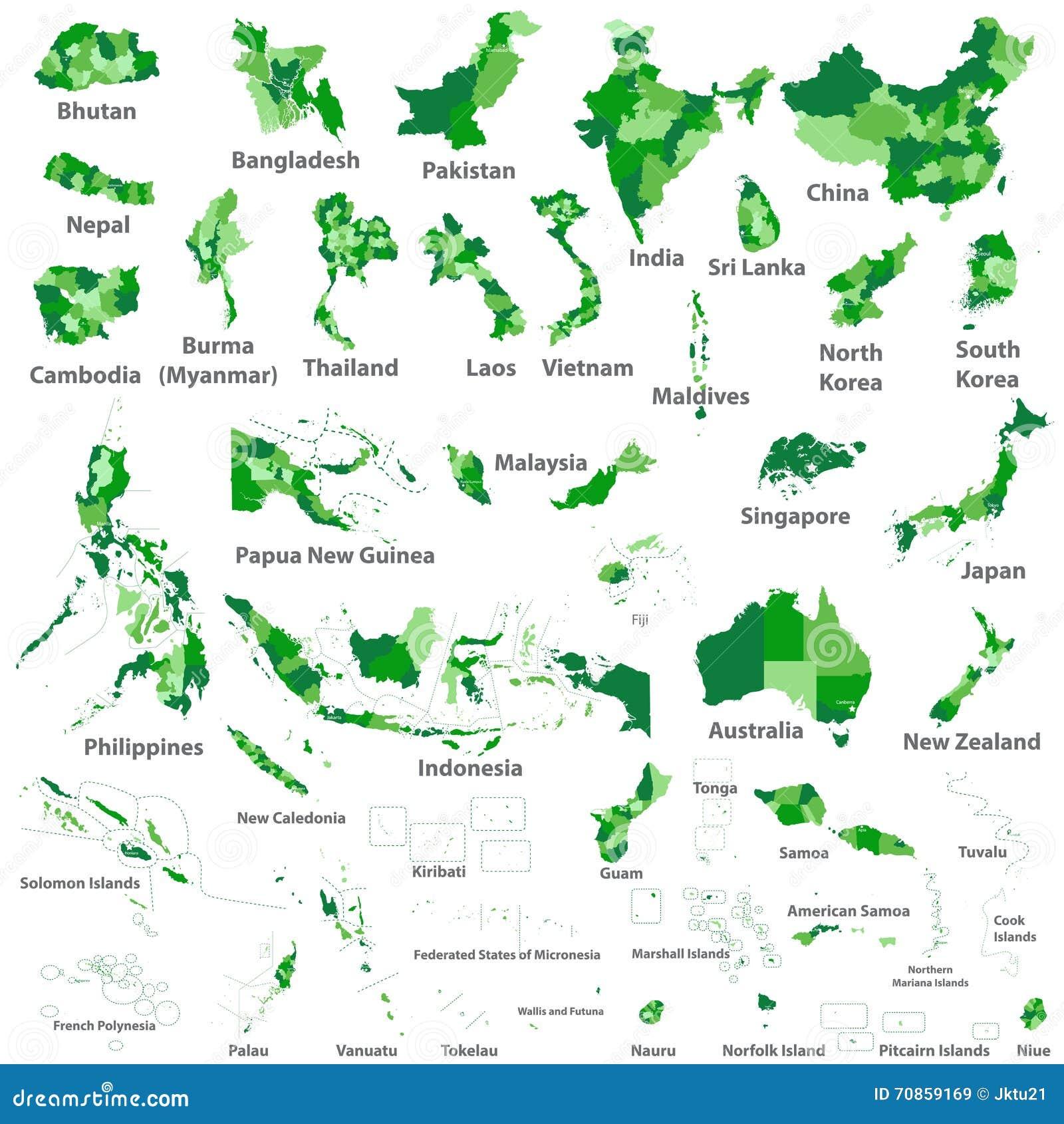 Azjata, Australia i Oceania krajów wektorowe mapy,