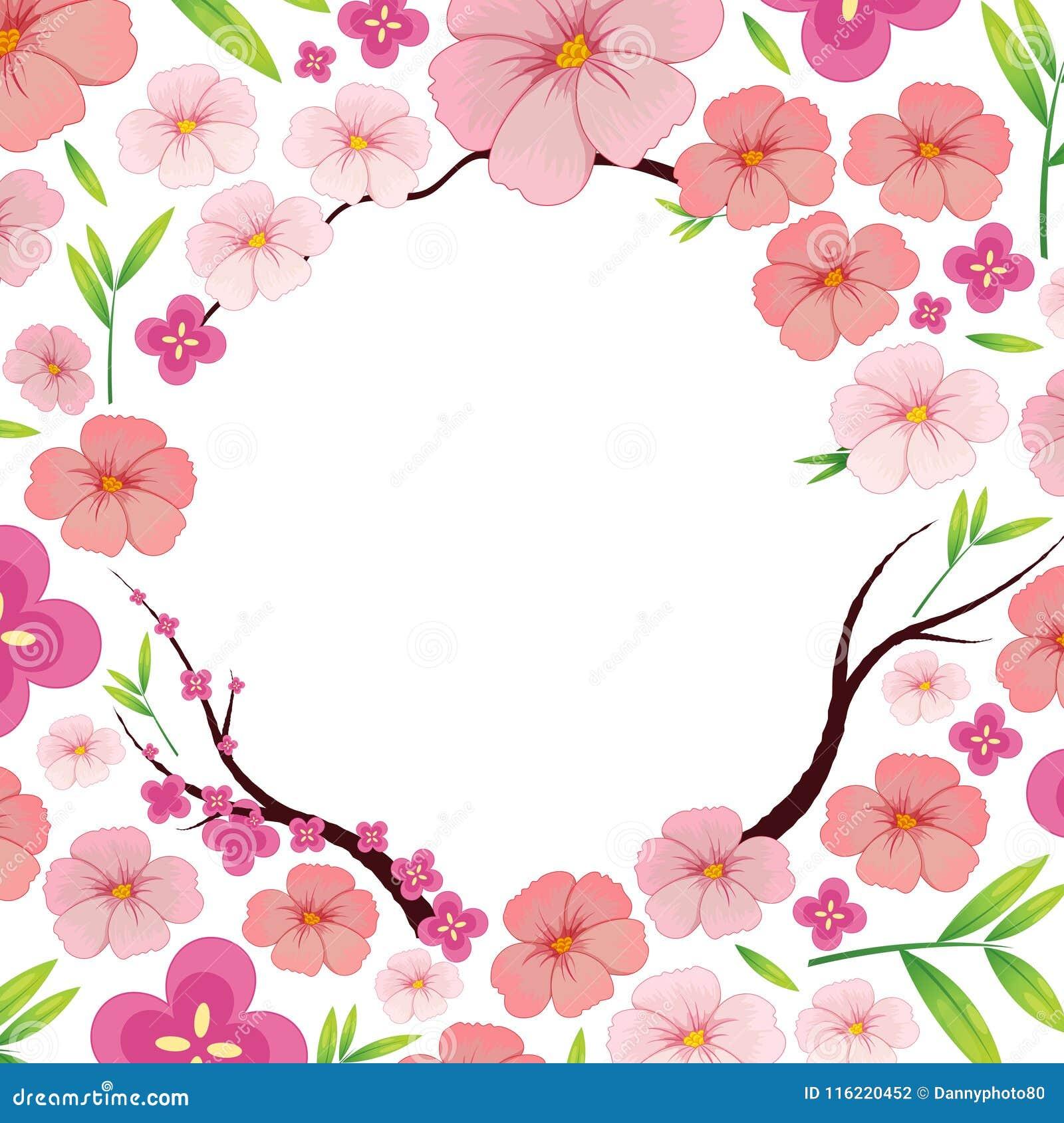 Azjata japończyka Sakura Różowy szablon