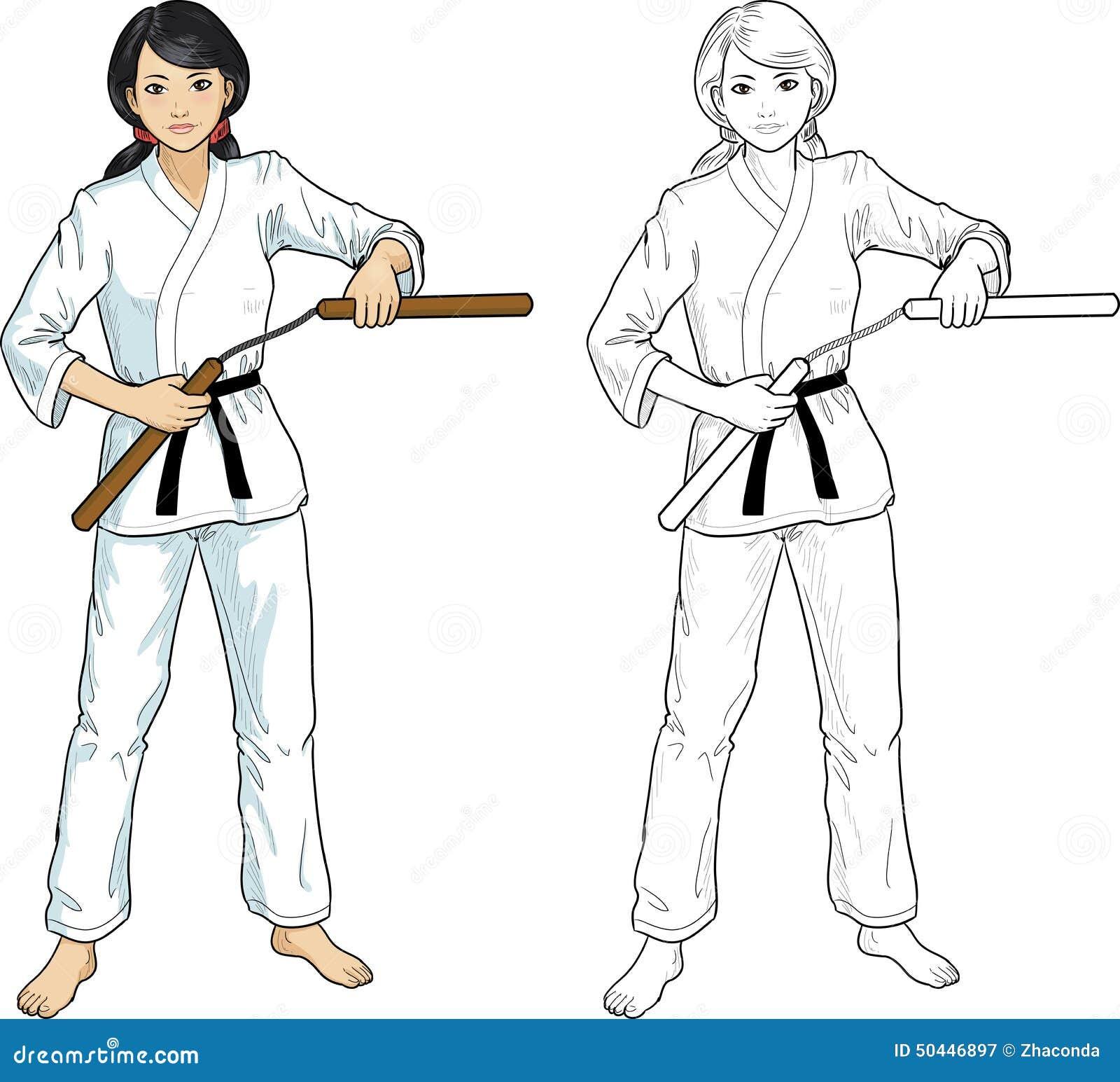 Azjata Nunchuck dziewczyna w karategi