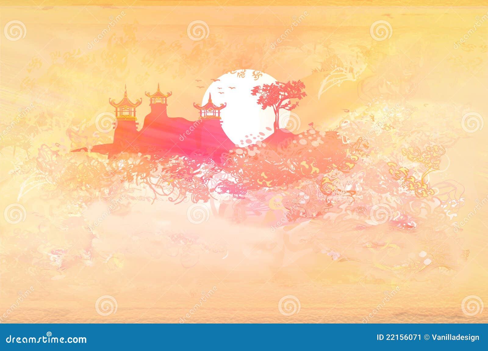 Azjata papier krajobrazowy stary