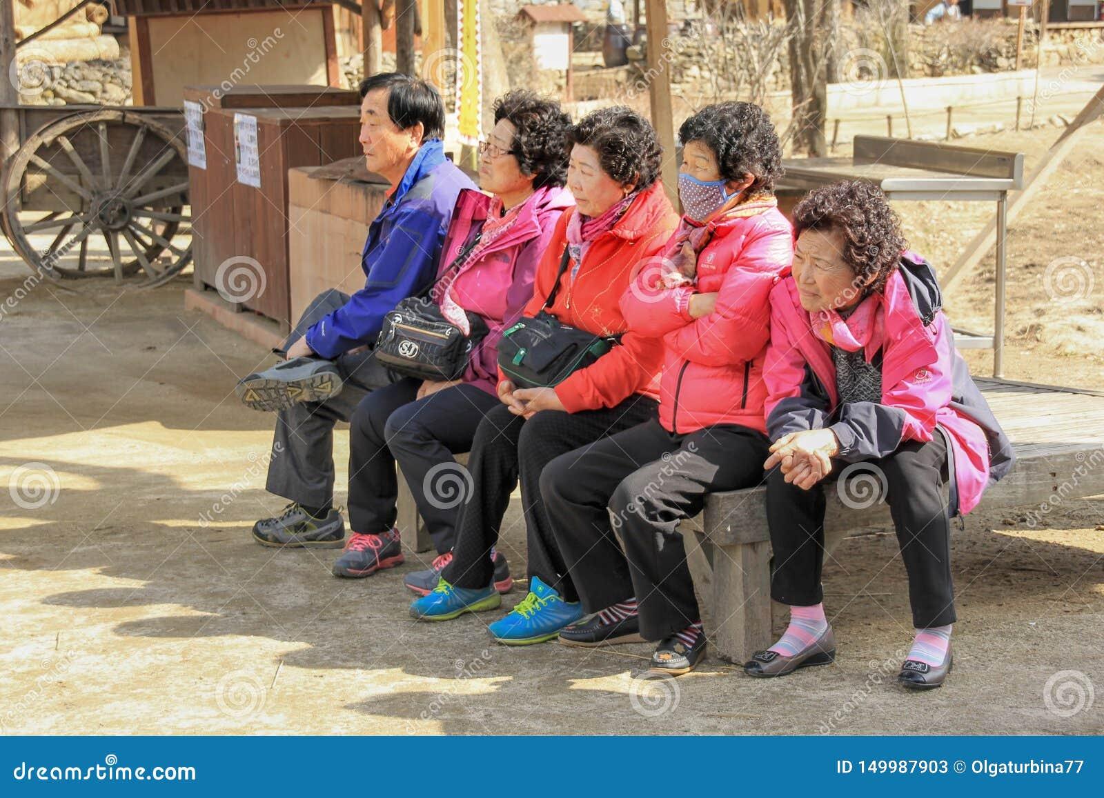 Azjatyccy starszy turyści na grupowy zwiedzać w koreańskiej ludowej wiosce