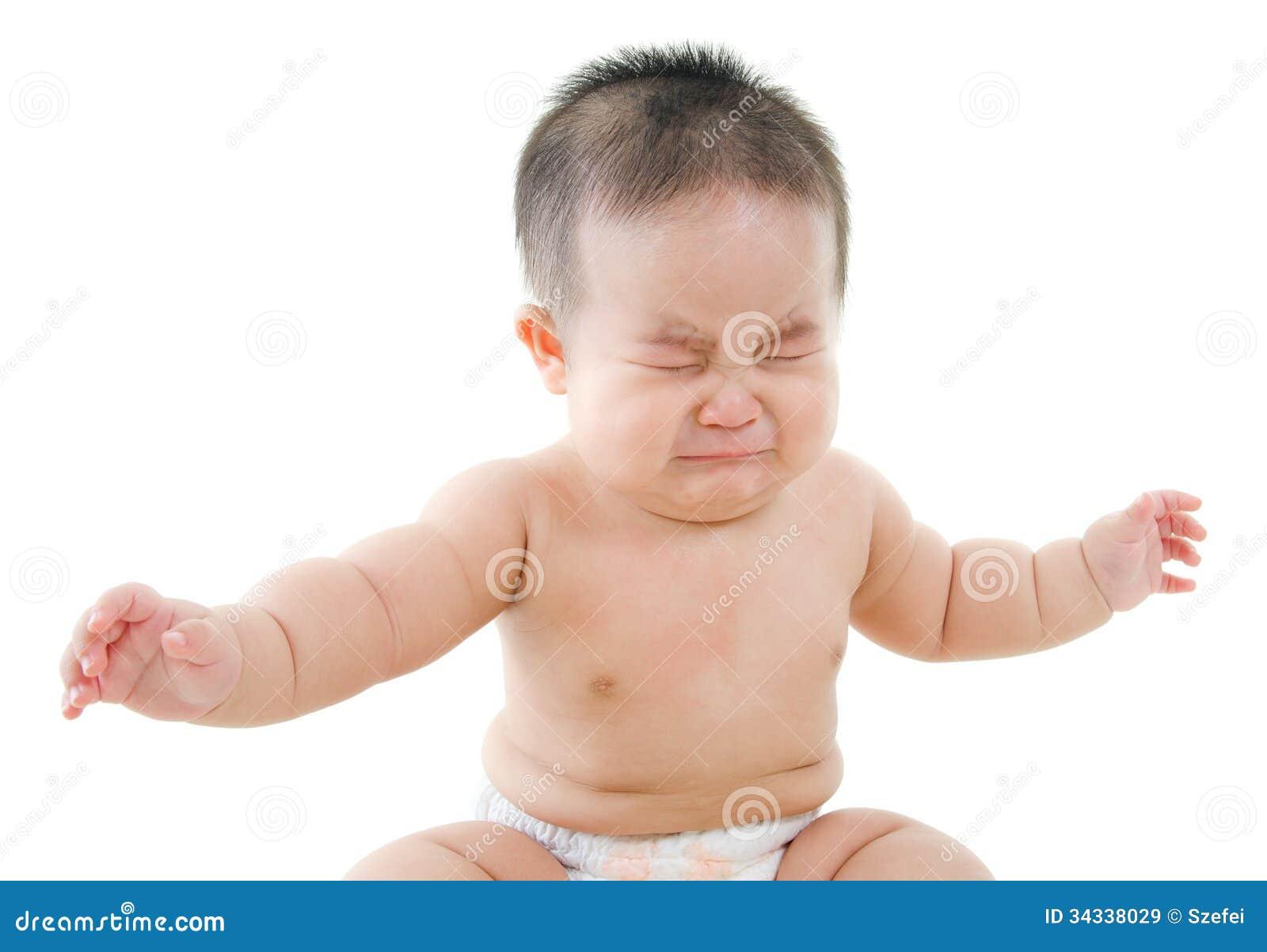 Azjatycka chłopiec płacze