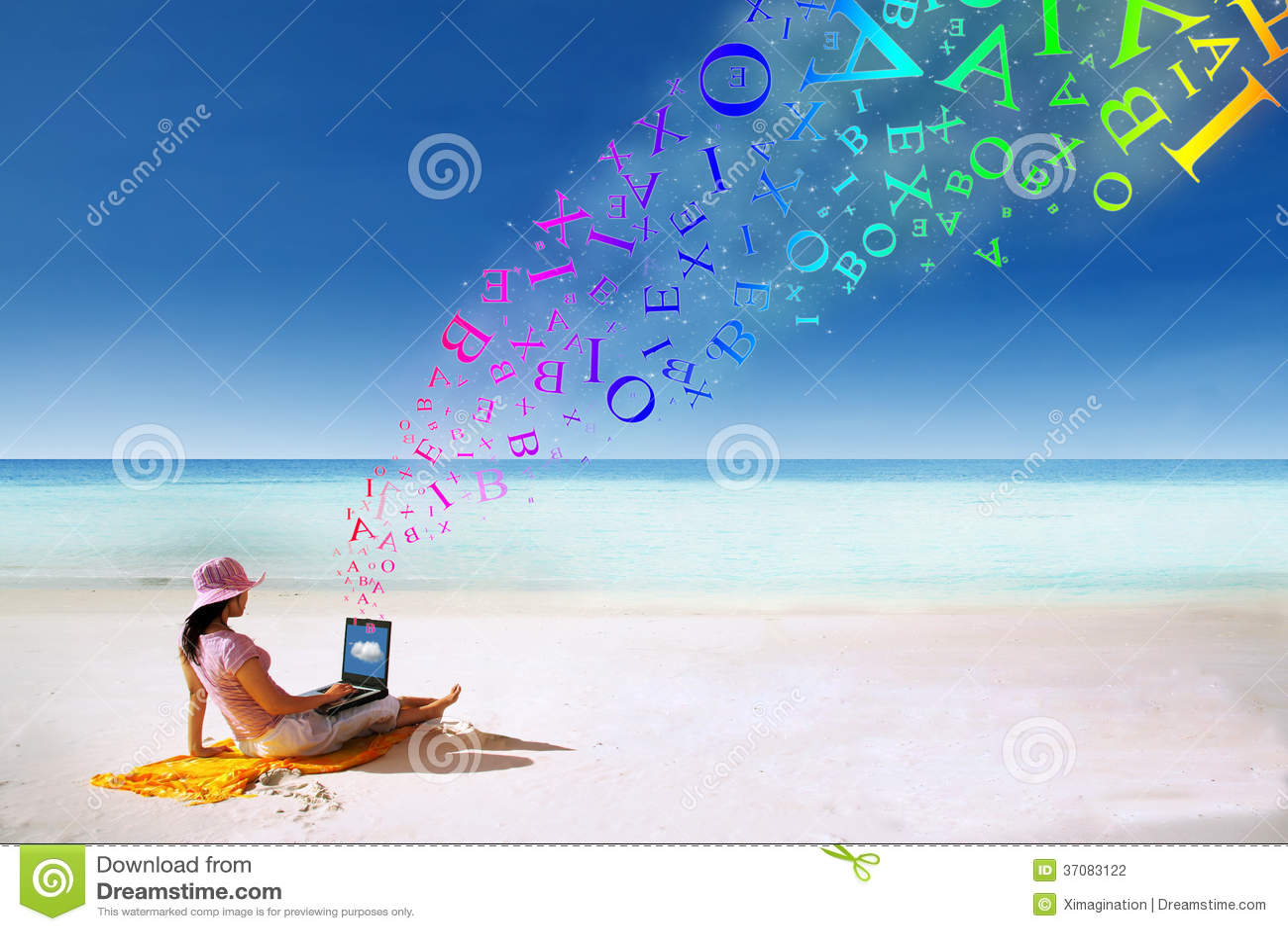 Download Azjatycka Kobieta Pracuje Na Plaży Zdjęcie Stock - Obraz złożonej z sarongi, coastline: 37083122