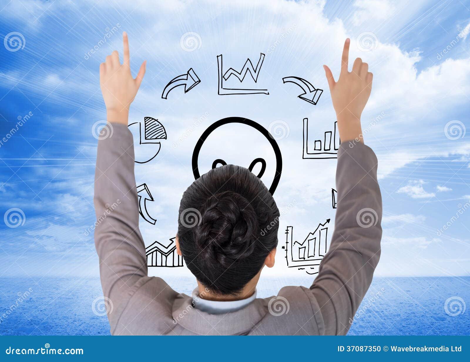 Download Azjatycki Bizneswomanu Wskazywać Zdjęcie Stock - Obraz złożonej z chmurny, innovate: 37087350