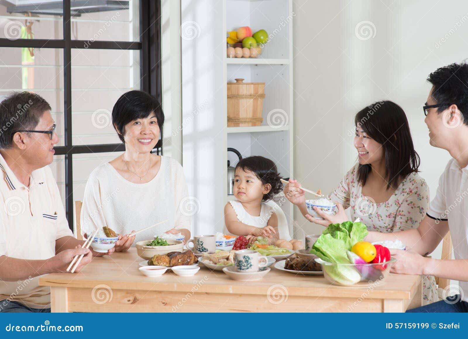 Azjatycki Chiński rodzinny łomotać