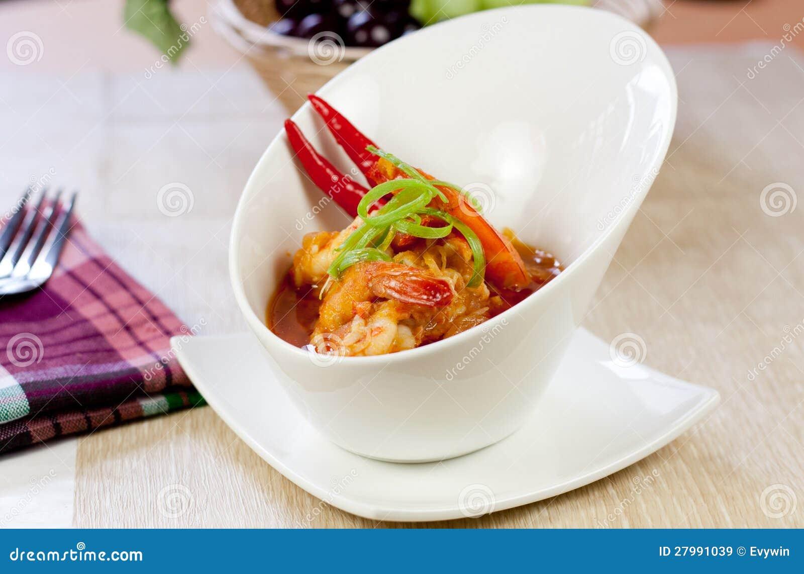 Azjatycki karmowy krewetka curry