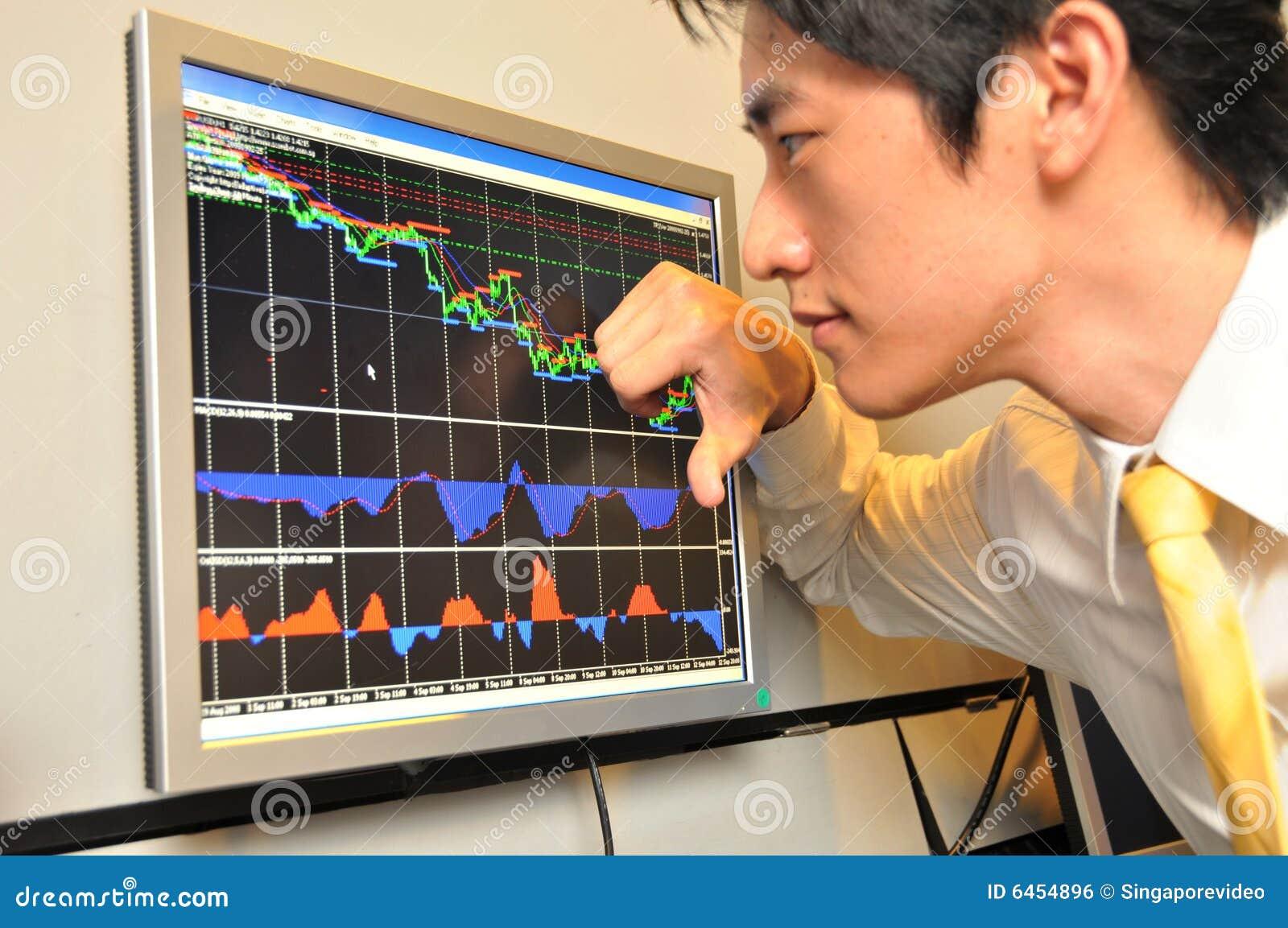 Azjatykci interes ludzi ogląda rynku zasobów