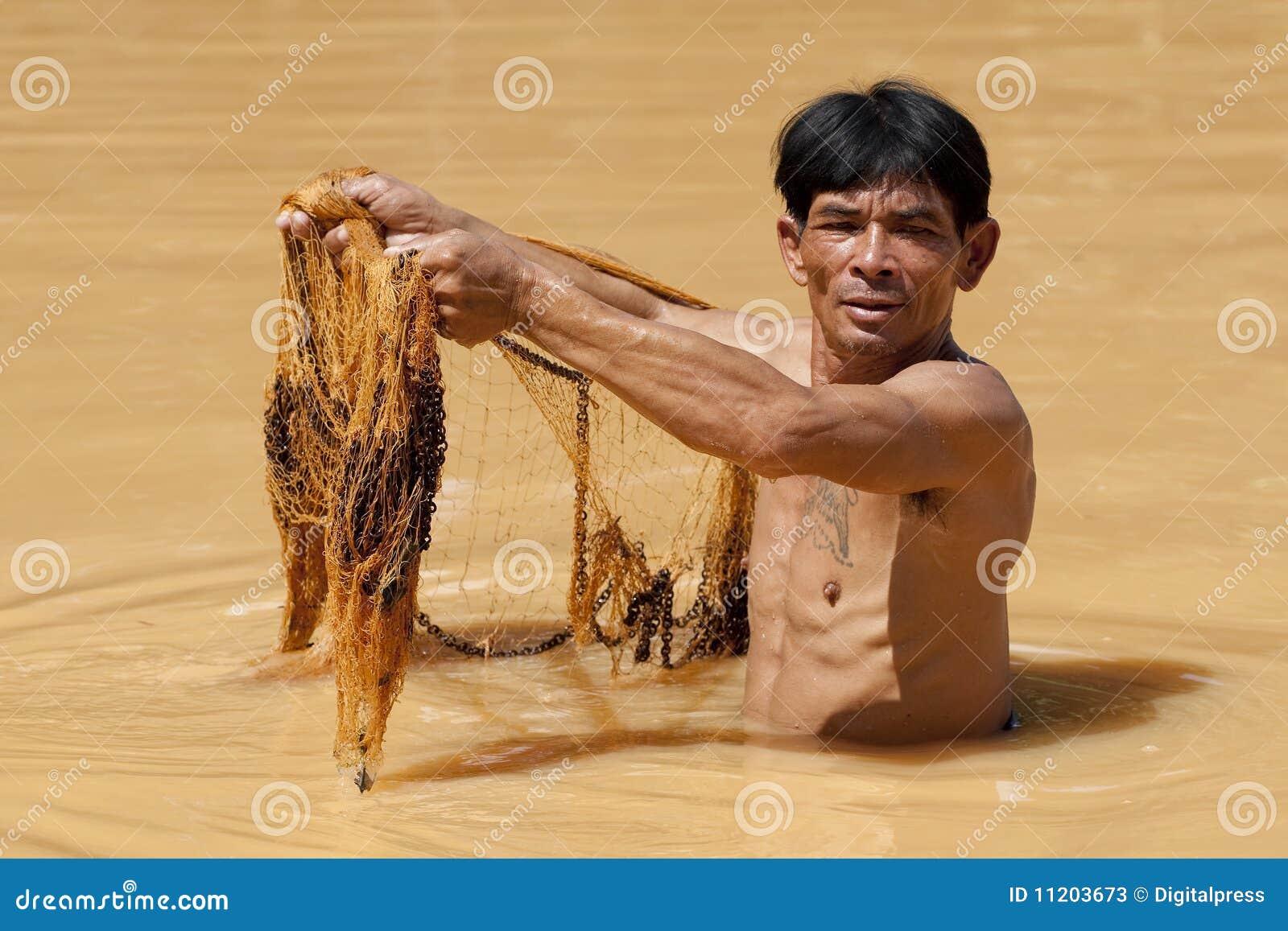 Azjatykci rybaka sieci rzut