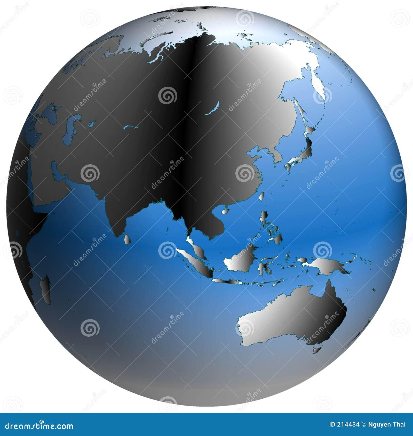 Azji globe niebieskich oceanach ocieniony świat