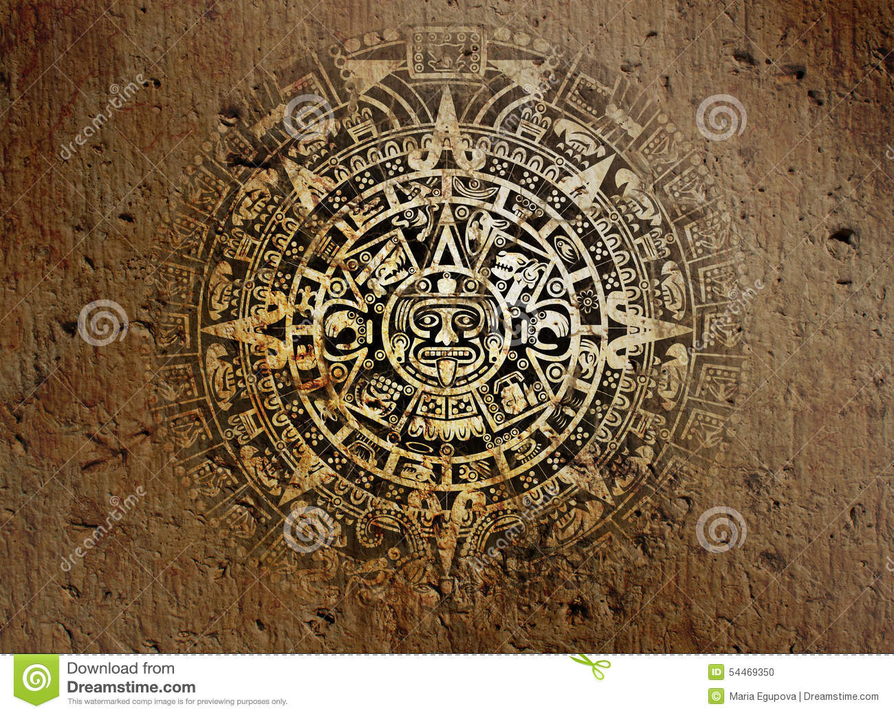Calendar Vintage Vector : Aztec calendar on old stone stock photo image