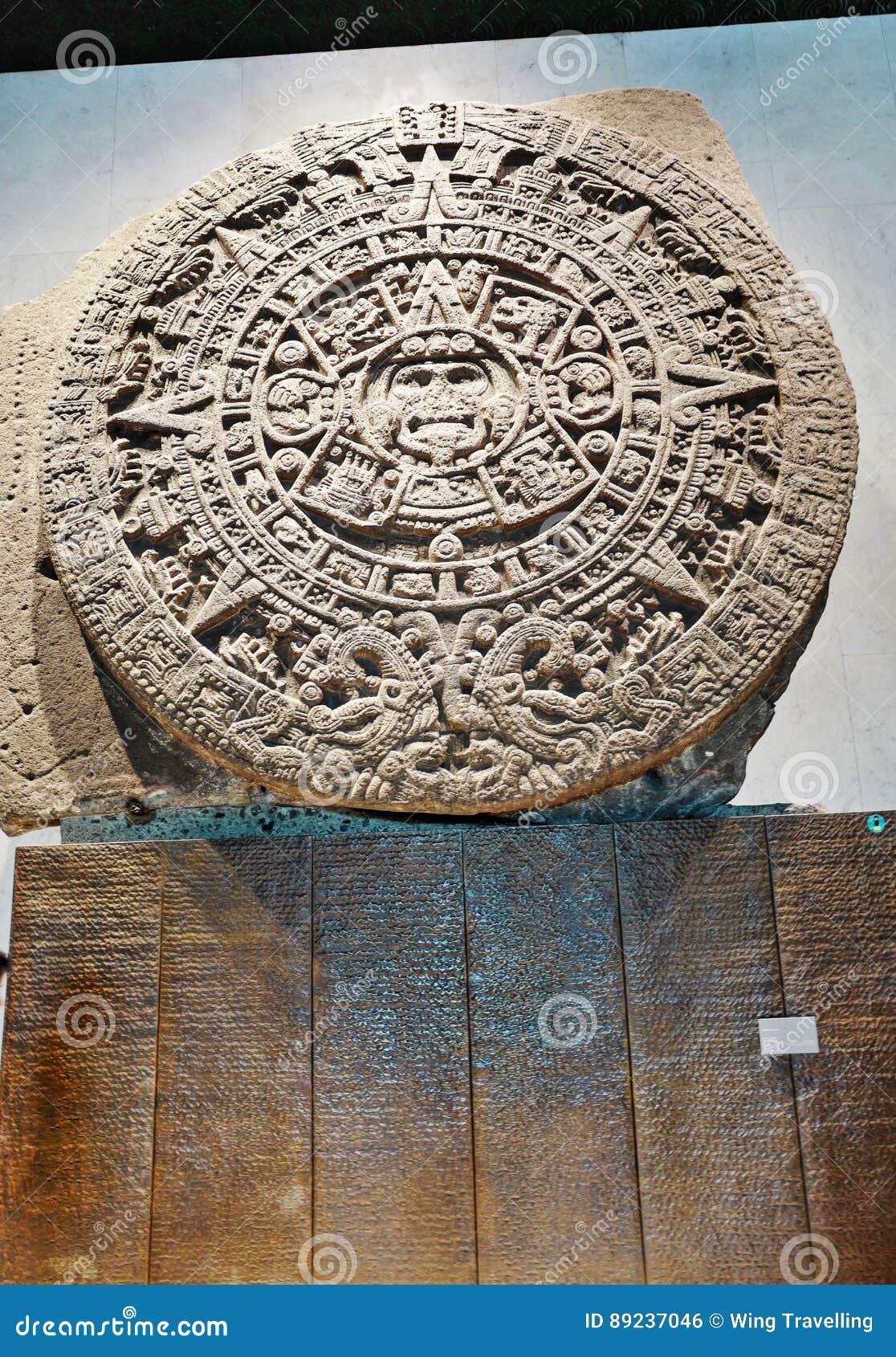 Aztec Calendar Stone.Aztec Calendar Stone Or Sun Stone Stock Photo Image Of