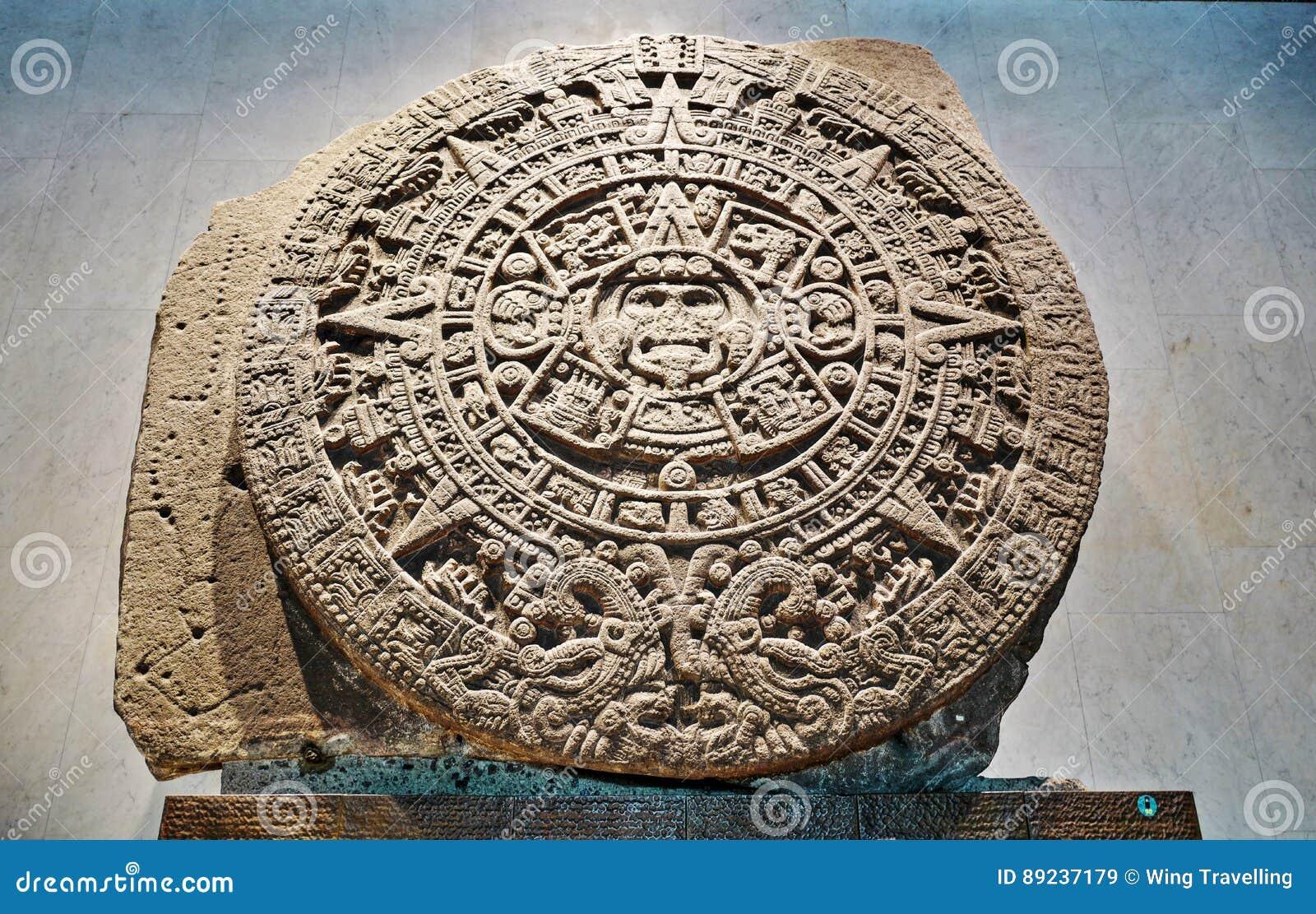 Aztec Calendar Stone.Aztec Calendar Stone Or Sun Stone Stock Image Image Of Mayan