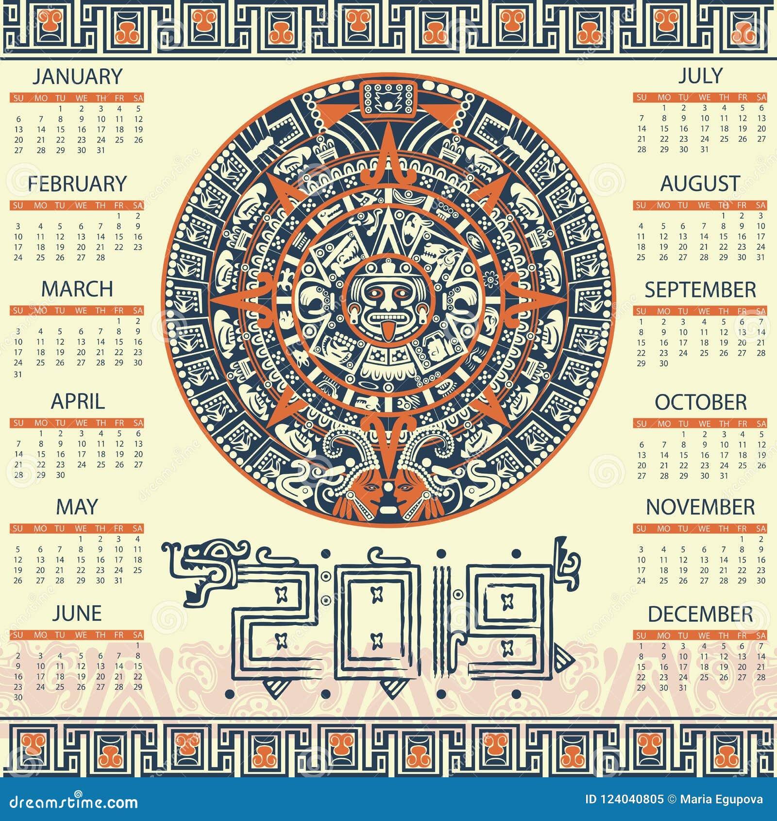 Mayan Calendar 2019 Aztec calendar 2019 stock vector. Illustration of culture   124040805