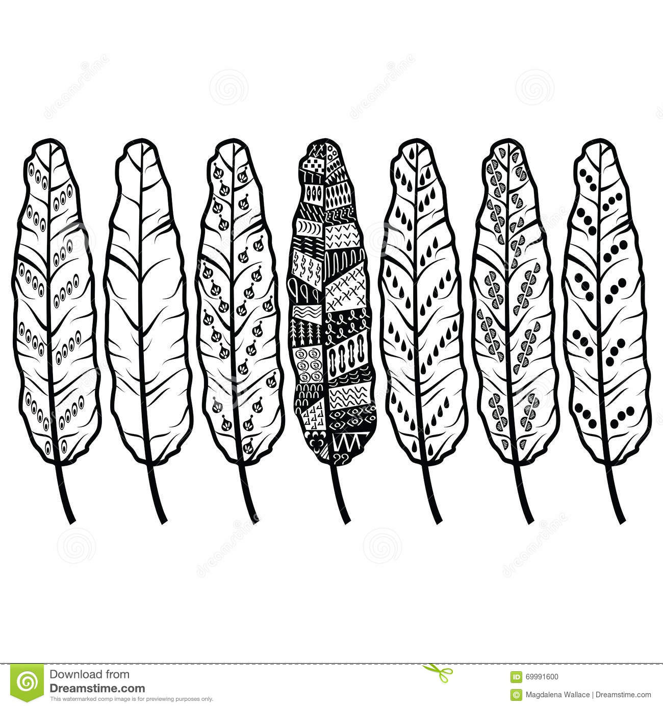 Native american ornaments - Aztec Culture Tribal Feathers In Native American Ornaments Style In Black And White
