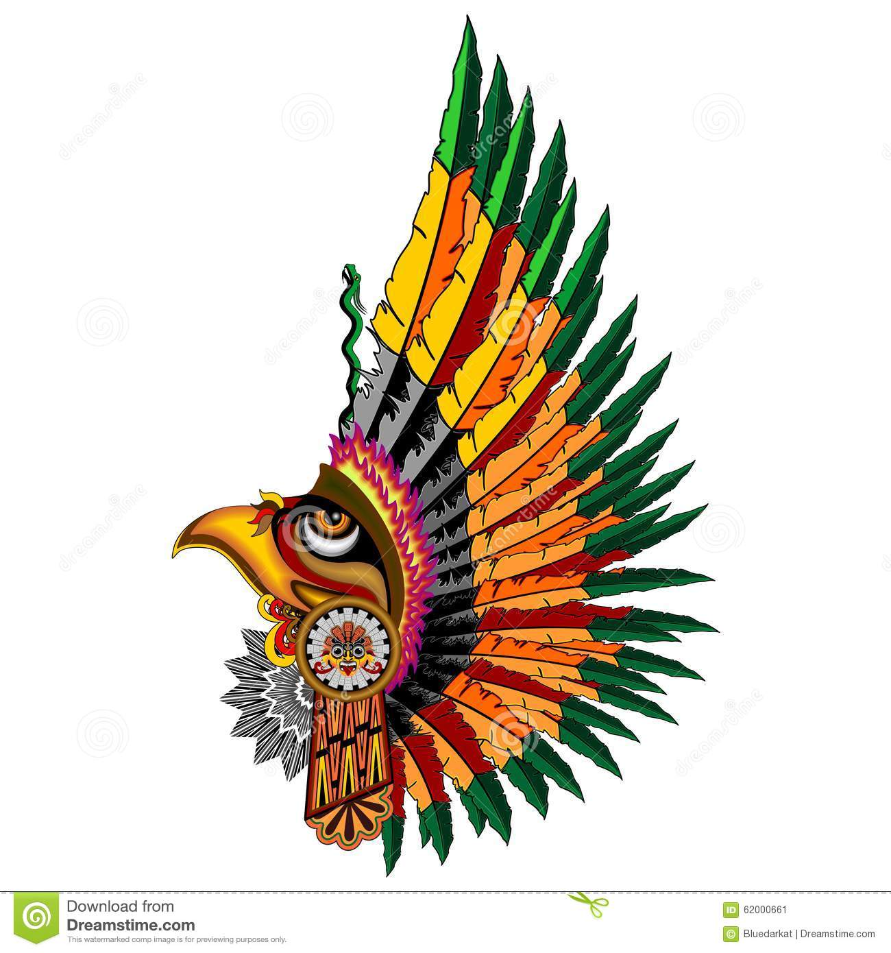 ... . Here's a Design of a Colorful, ornamental Aztec Eagle Warrior Mask
