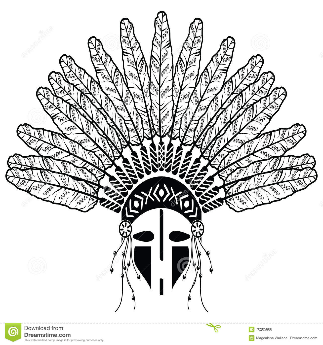 fefb0386d5aa7 Aztec, ethnic style headdress with decorative feathers, beads symbolizing  native American tribes and warrior