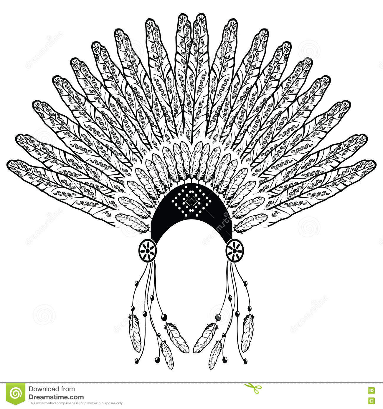 22f17a4259d56 Aztec, ethnic style headdress with decorative and plain feathers, beads  symbolizing native American warrior