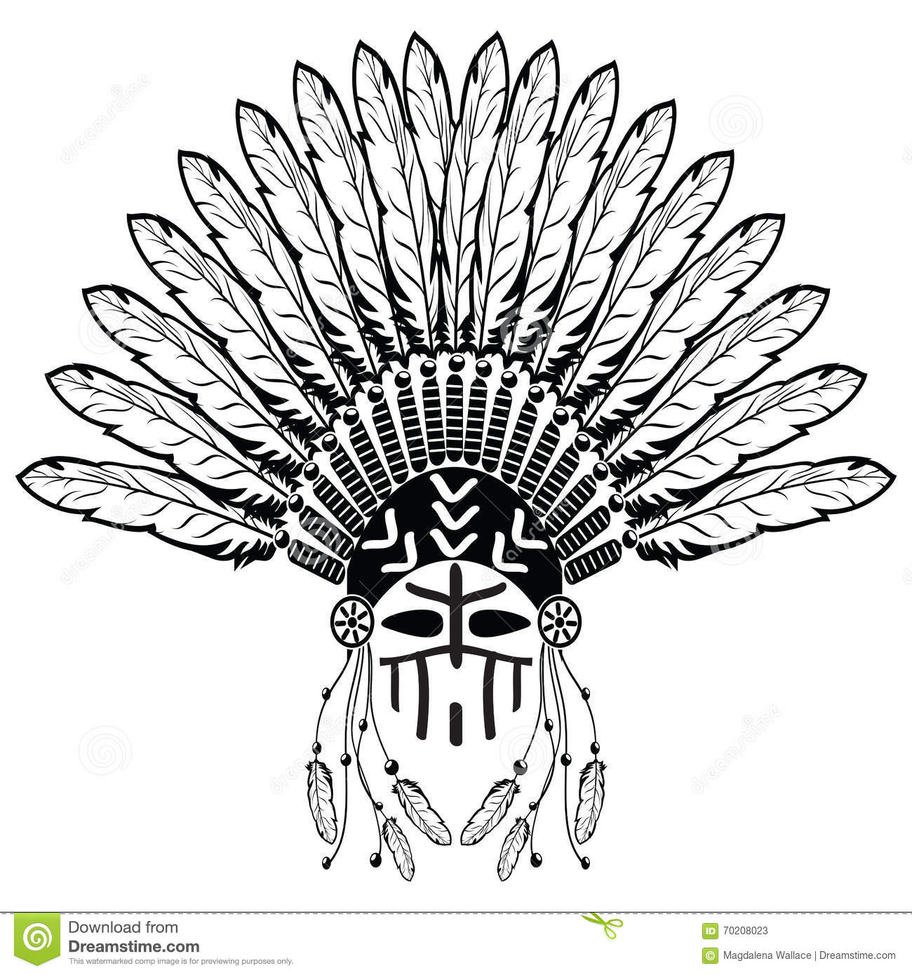 Native american ornaments - Aztec Ethnic Style Headdress With Plain Feathers Beads Symbolizing Native American Tribes And Warrior