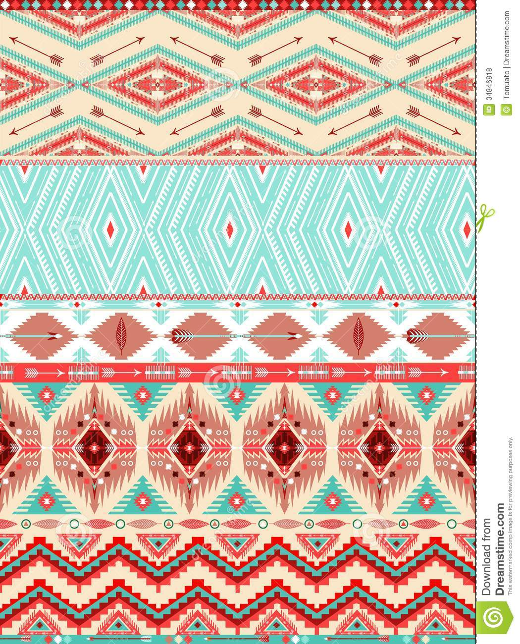 Aztec Geometric Seamless Pattern Stock Vector