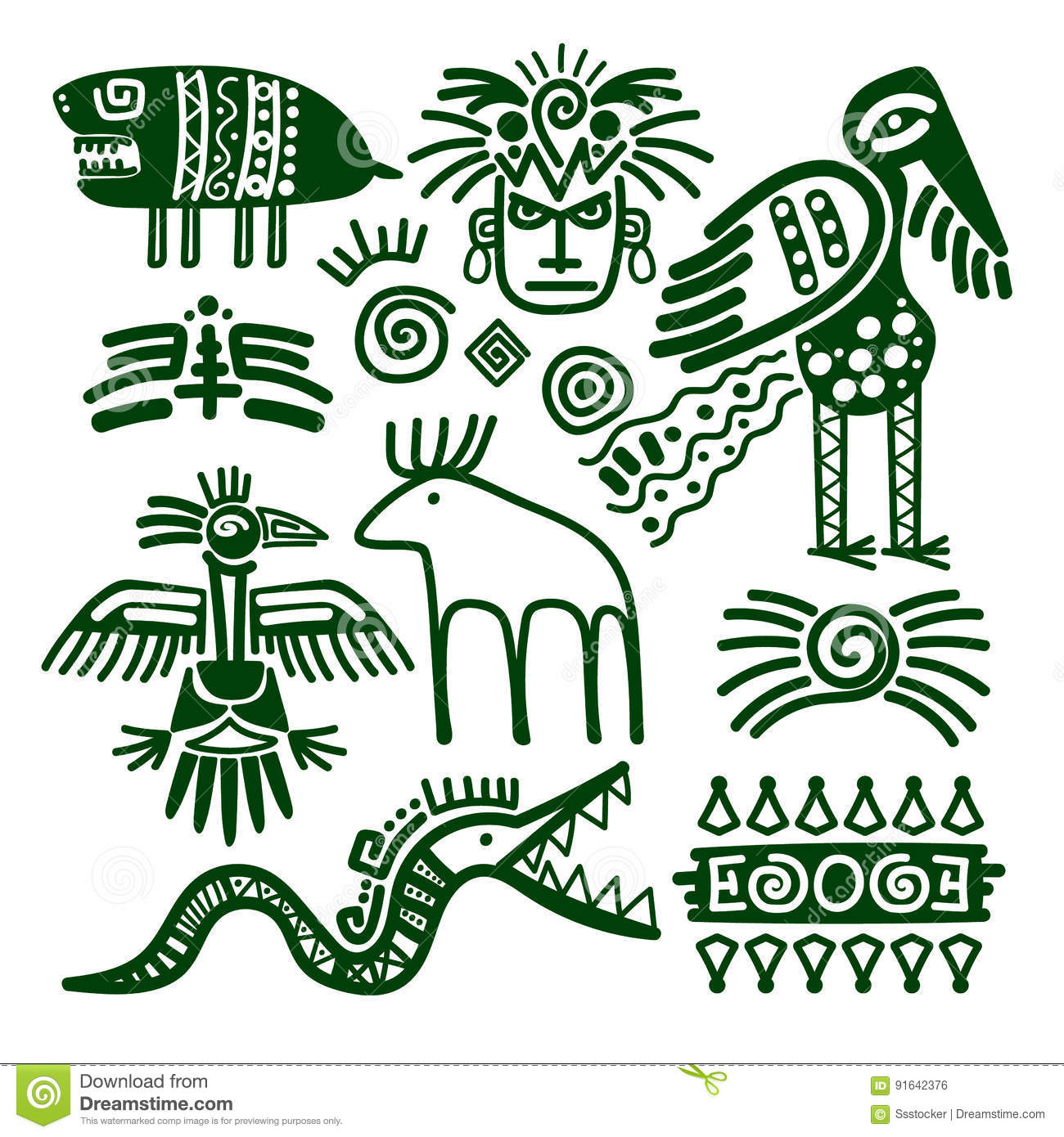 Aztec and inca native tribal signs