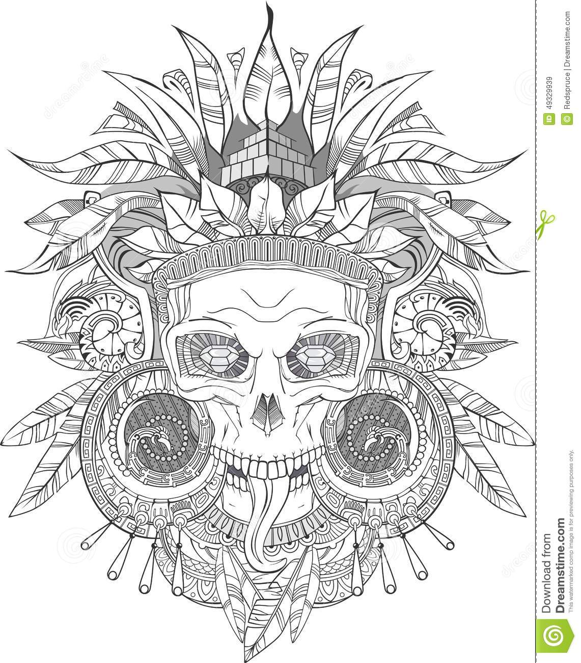 Aztec Indian Skull Stock Vector