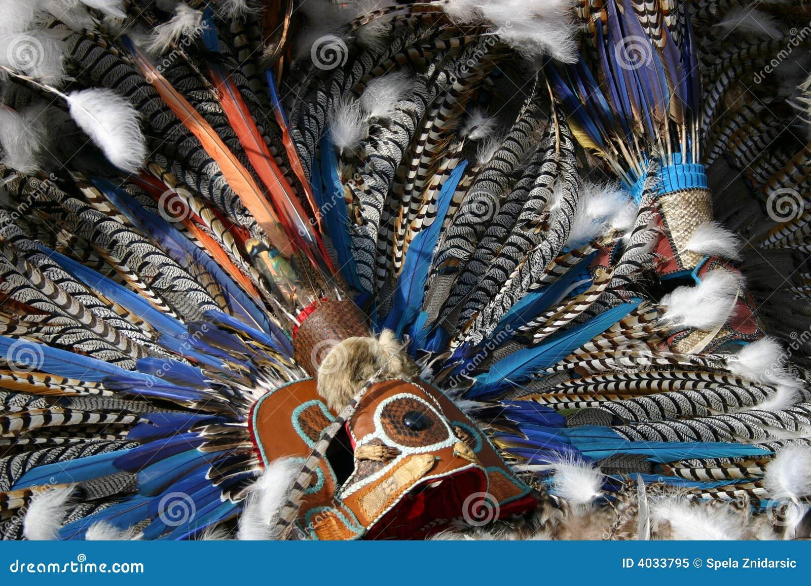 Aztec Mask on Aztec Dancer In Mexico