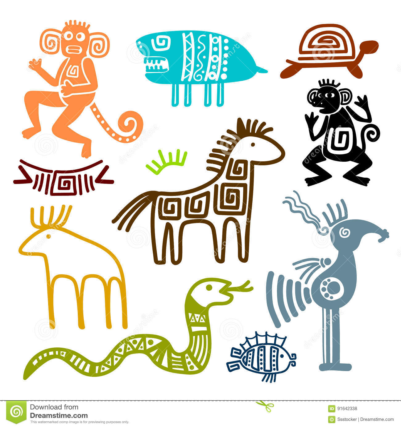 Aztec And Maya Ancient Animal Symbols Stock Vector Illustration Of