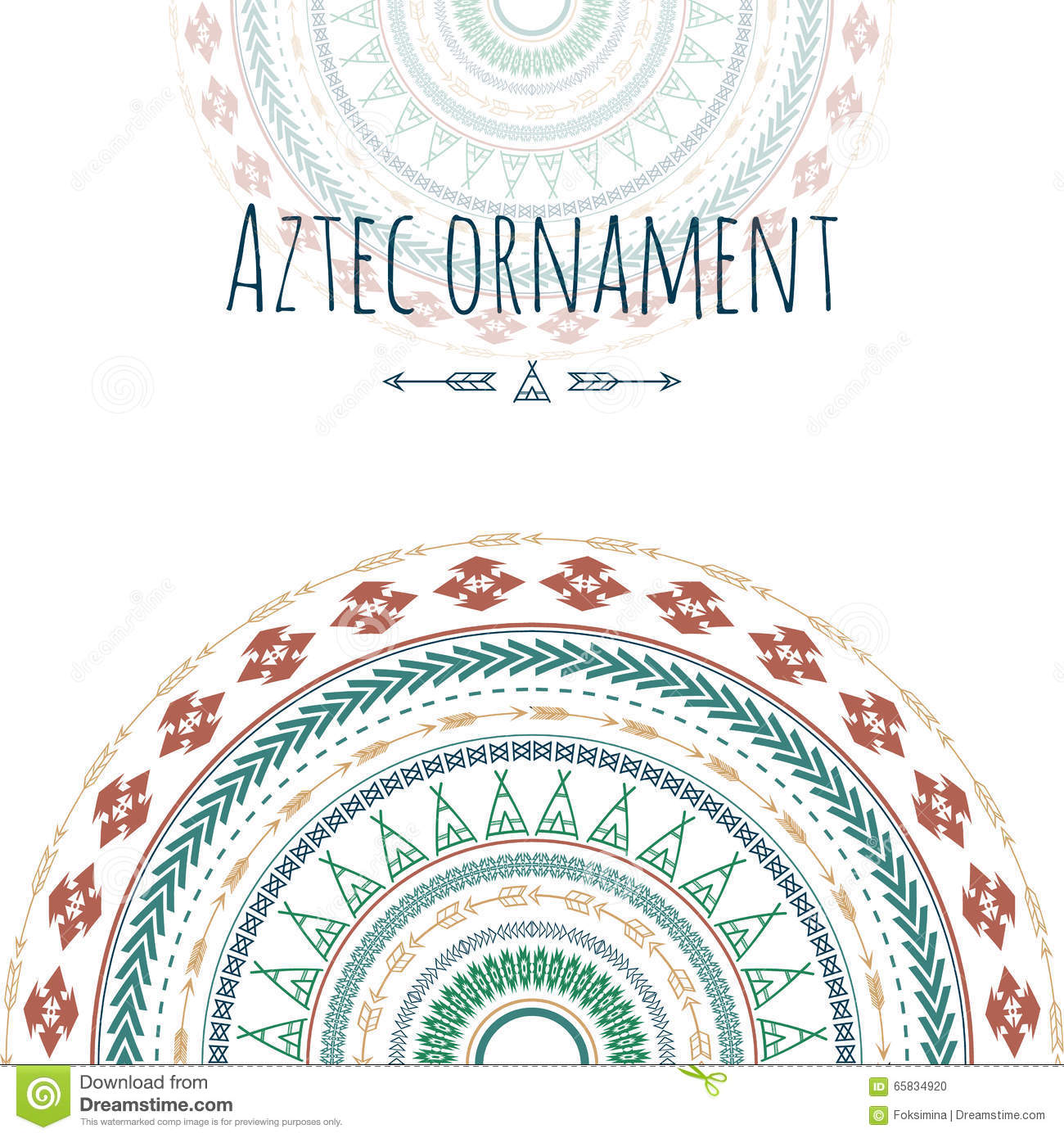 Aztec ornament circle greeting card. Tribal design for your invitations.