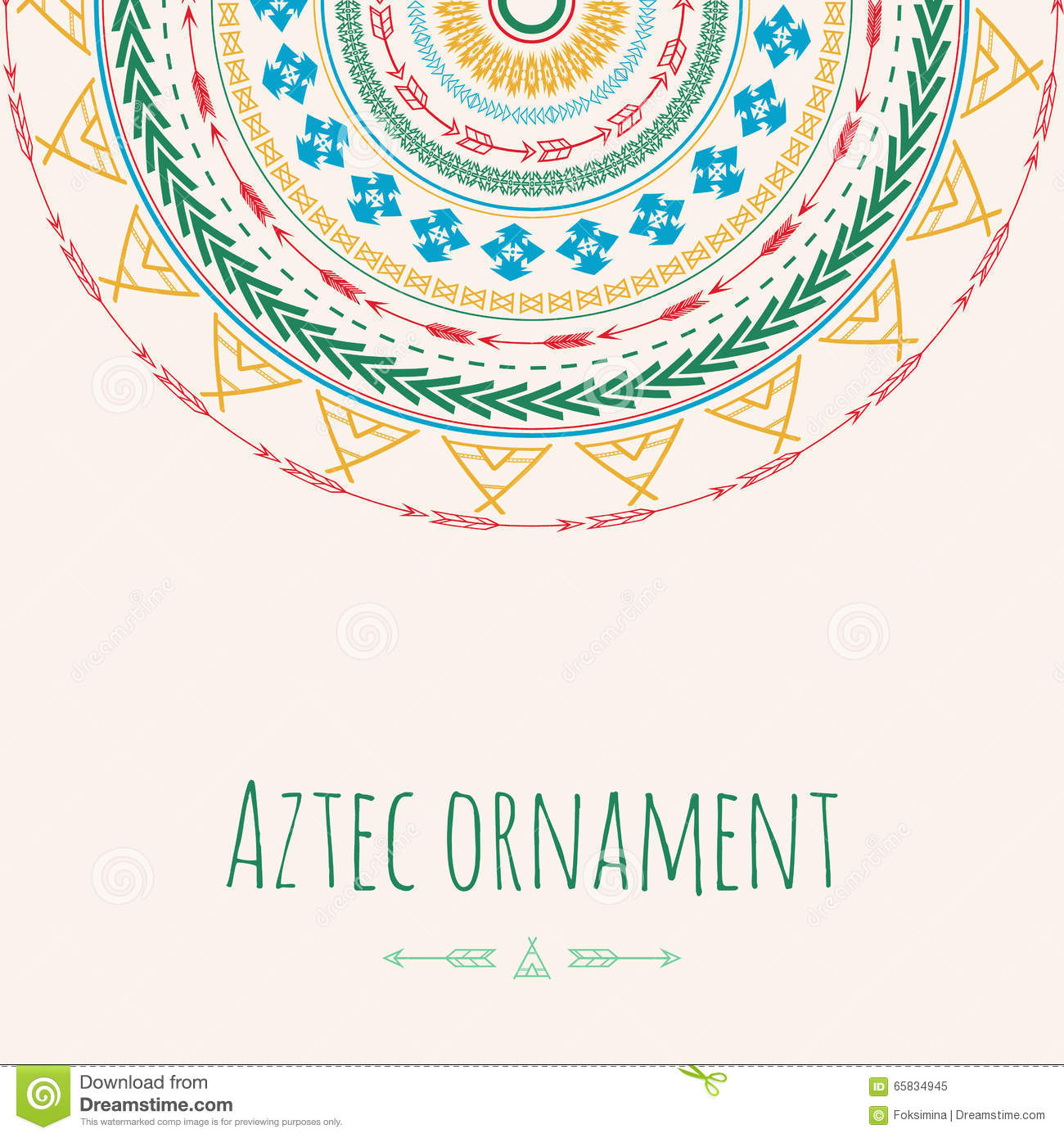 Aztec Ornament Circle Greeting Card Tribal Design For Your Own