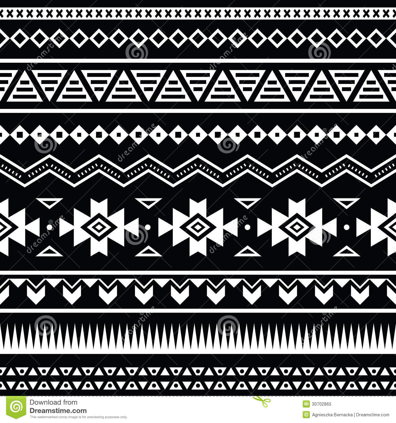 Aztec Seamless Pattern, Tribal Black And White Background ...