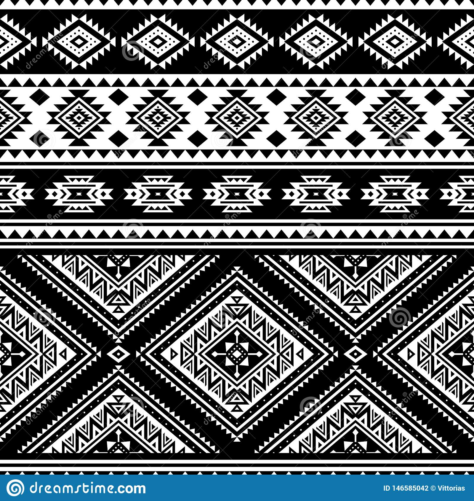 aztec seamless pattern, black white stock vector - illustration of  decorative, fabric: 146585042  dreamstime.com