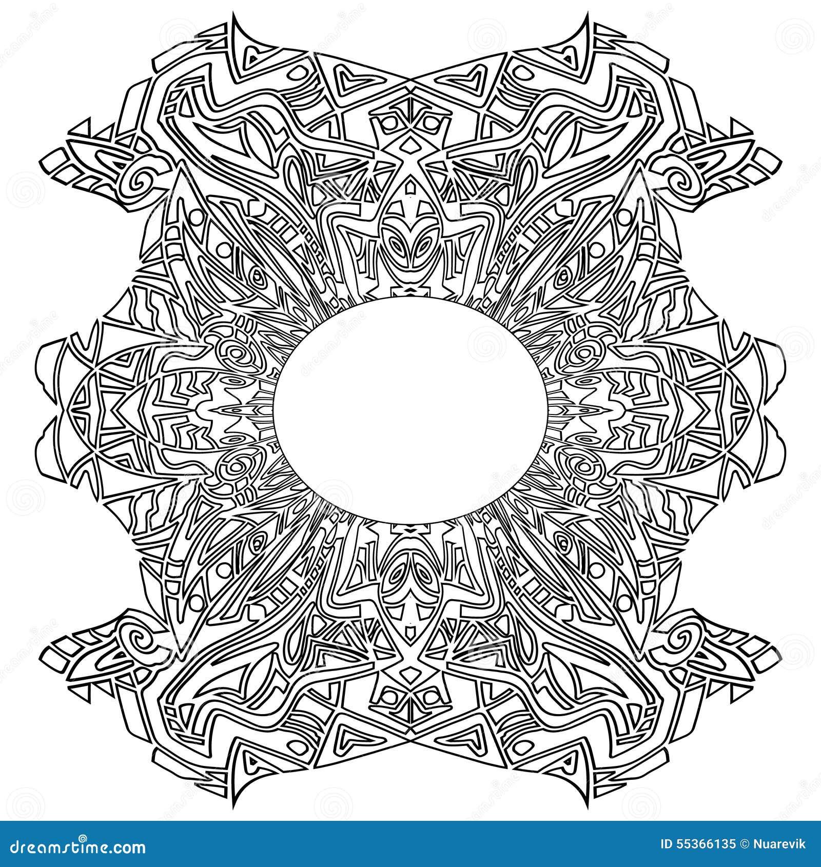 Download Aztec Tribal Coloring Frame Zentangle Stock Illustration